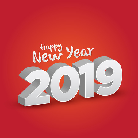 Happy New Year 2019 - 3D Vector  イラスト・ベクター素材