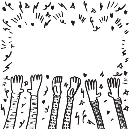 doodle sketch style applause on white background.hand drawn of applause. design element hand drawn. Stock Illustratie
