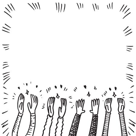 doodle sketch style applause on white background.hand drawn of applause. design element hand drawn.
