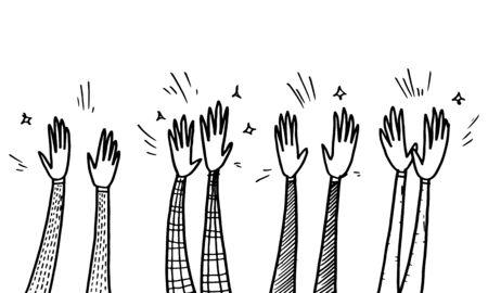 Handgezeichneter Skizzenstil der menschlichen Hände, die Ovationen klatschen