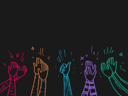 hand drawn of colorful applause. thumbs up gesture on doodle style , vector illustration