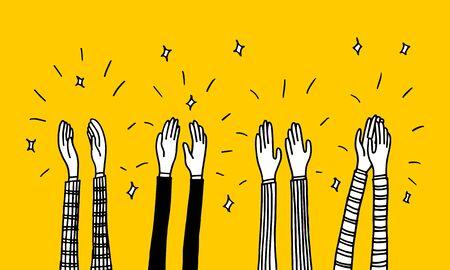 elemento de diseño de doodle, aplausos doodle ilustración vectorial, aplausos dibujados a mano doodle. dibujos animados aplaudiendo ovación.