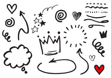 set of Hand drawn design elements. vector illustration.