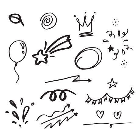 Hand drawn set elements,Arrow, heart, love, star, leaf, sun, light,crown,emphasis ,swirl, for concept design.