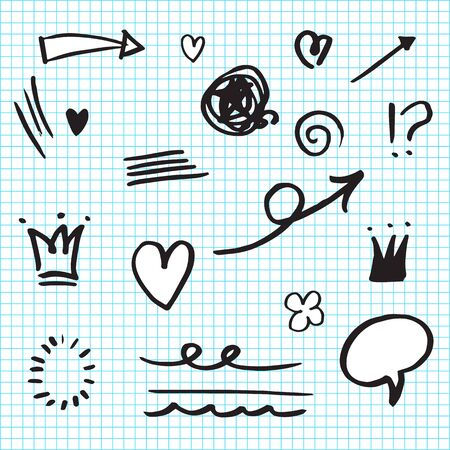Hand drawn set elements,Arrow, heart, love, star, leaf, sun, light,crown,emphasis ,swirl, for concept design.
