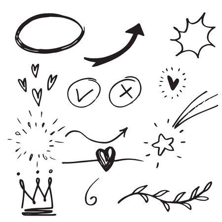 Hand drawn set elements,Arrow, heart, love, star, leaf, sun, light,crown,emphasis ,swirl.
