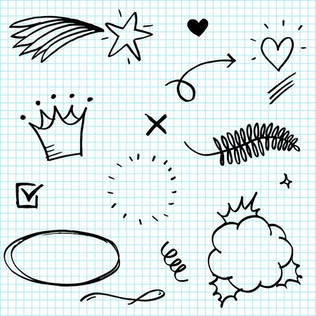 Hand drawn set elements, Arrow, heart, love, star, leaf, sun, light, crown, king, queen, swirl, Swishes, swoops, emphasis, Check mark, for concept design.