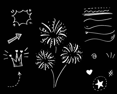 Hand drawn set elements, Arrow, heart, love, star, leaf, sun, light, crown, king, queen, swirl, Swishes, swoops, emphasis,for concept design. 일러스트
