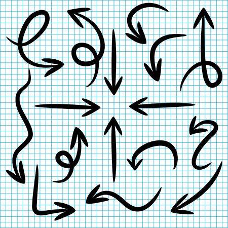 set doodle arrows on paper background  イラスト・ベクター素材