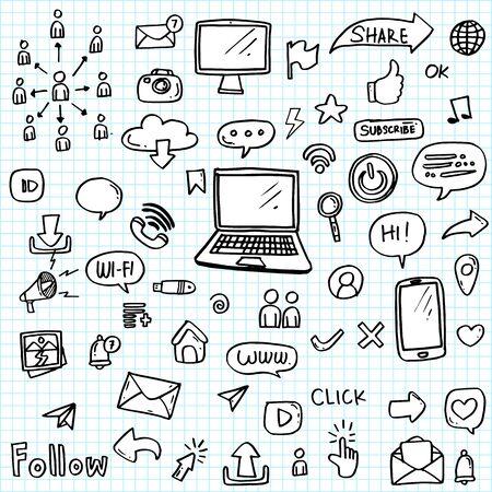 conjunto de icono de redes sociales dibujado a mano.