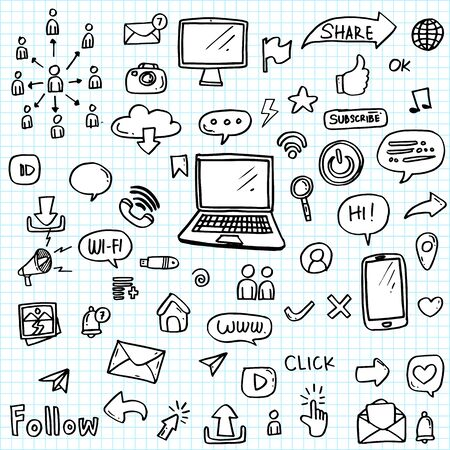 set of social media icon hand drawn.