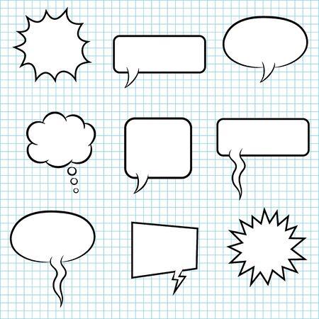 set bubble speech on paper background Reklamní fotografie - 133744681