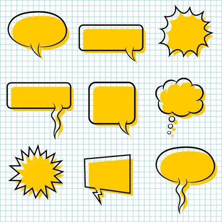 set bubble speech on paper background Reklamní fotografie - 133744683