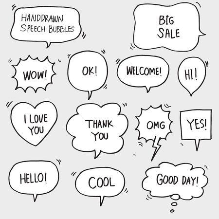 ensemble de discours de bulle comique dessinés à la main avec du texte