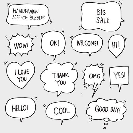 set of hand drawn comic bubble speech with text