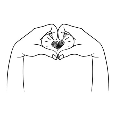 doodle hands up, Two hands making heart sign . Concept of charity and donation. Give and share your love to people. vector illustration