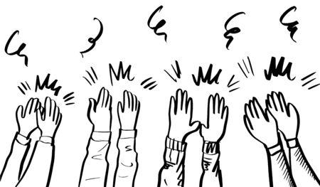 Hand Drawn sketch style of Human hands clapping ovation Ilustración de vector
