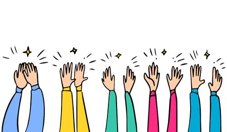 Hand Drawn sketch style of Human hands clapping ovation. applause, thumbs up gesture on doodle style , vector illustration. Ilustración de vector