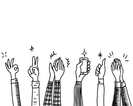 Hand Drawn sketch style of Human hands clapping ovation. applause, thumbs up gesture on doodle style , vector illustration.