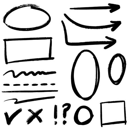 doodle design element. Doodle lines, Arrows, Check mark, circles and curves vector.hand drawn design elements isolated on white background.