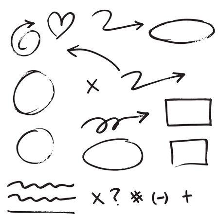 élément de conception de griffonnage. Lignes de griffonnage, flèches, coche, cercles et courbes vector.hand dessinée éléments de conception isolés sur fond blanc. Vecteurs