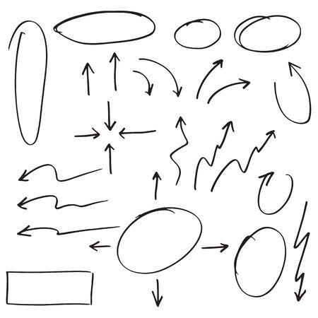 élément de conception de griffonnage. Lignes de griffonnage, flèches, coche, cercles et courbes vector.hand dessinée éléments de conception isolés sur fond blanc.