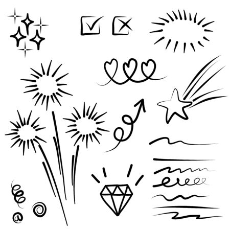 Hand drawn set elements, for concept design. vector illustration.