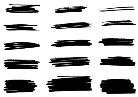 Set of vector brush strokes. Set of line vector illustration. Collection of vector brush hand drawn graphic element. grunge background.