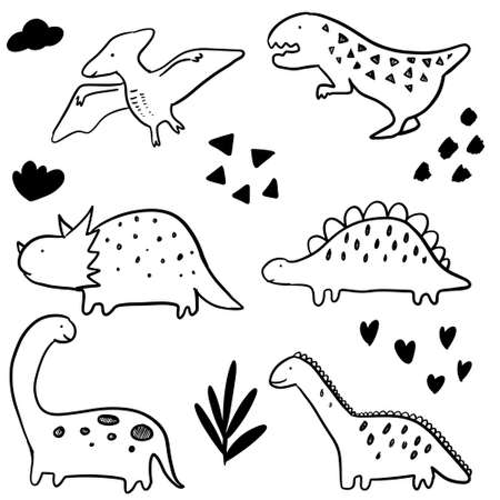 set of Hand drawn vector doodle dinosaur illustration. cartoon dinosaur isolated on white background for coloring page, poster design , t shirt print, and sticker.