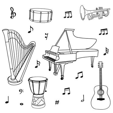 Hand drawn of music doodles, instruments, notes, signs and symbols isolated on white background