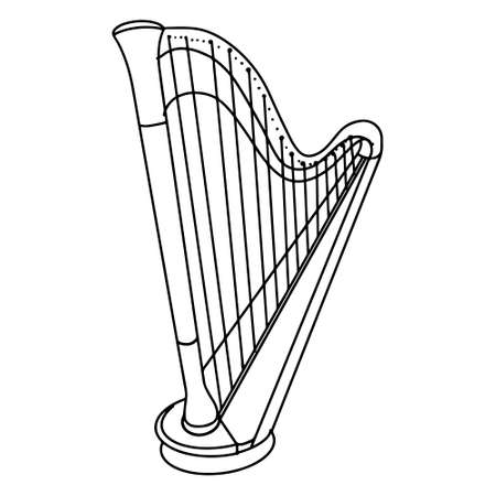 Hand Drawn harp doodle icon isolated on white background. vector illustration. Stock fotó - 150600276