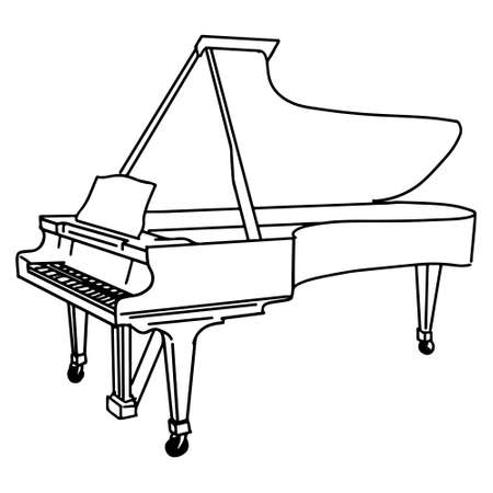 Hand Drawn piano doodle isolated on white background. vector illustration. Stock fotó - 150600277