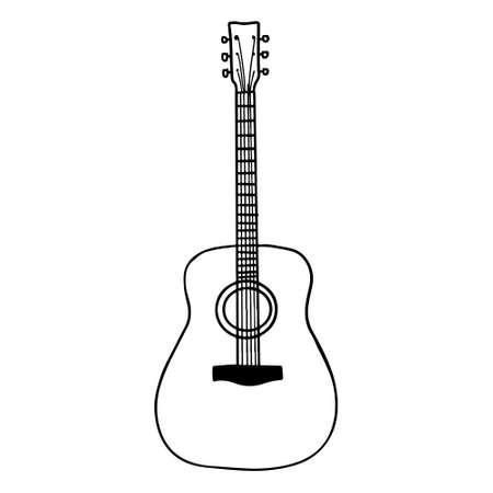 Hand Drawn guitar doodle icon isolated on white background. vector illustration. Illusztráció