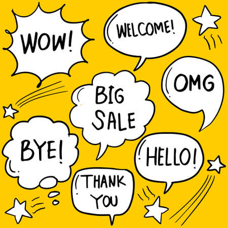Hand drawn set of speech bubbles with handwritten short phrases hello, hi, best, thank you, omg, wow, yes, nice, love, welcome, ok, cool, no.