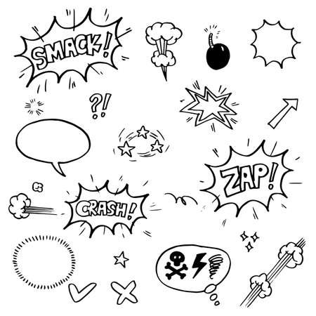 set of hand drawn comic elements. vector doodle comic elements cartoon isolated on white background Vector Illustration