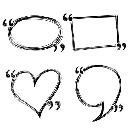 Hand drawn of doodle quotes boxes, speech bubbles.vector illustration.