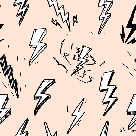 seamless pattern of hand drawn vector doodle electric lightning bolt symbol sketch illustrations.seamless pattern thunder symbol doodle icon.