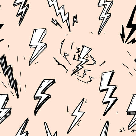 seamless pattern of hand drawn vector doodle electric lightning bolt symbol sketch illustrations.seamless pattern thunder symbol doodle icon.
