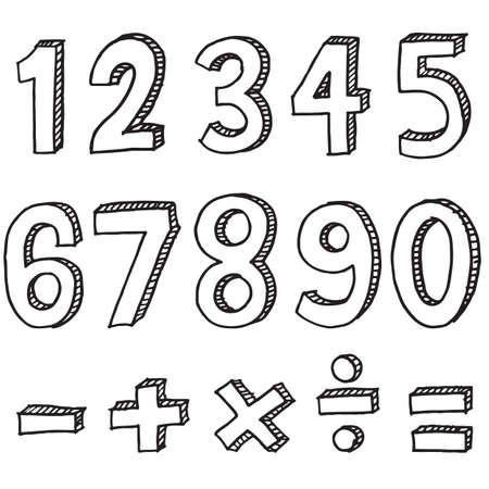 Hand drawn colorful numbers. doodle numbers for children's themes isolated on white background.