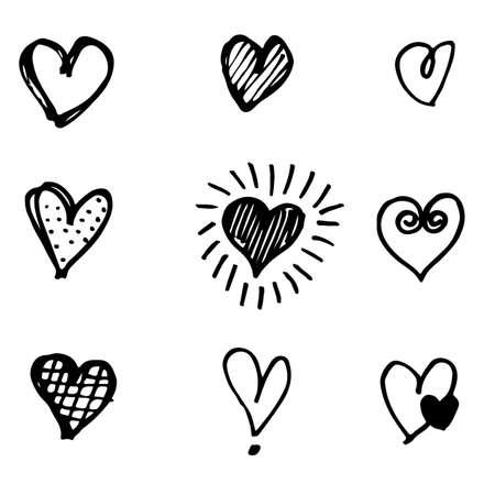 Set of hand drawn heart. doodle hearts isolated on white background. Vector illustration for graphic design. Ilustração Vetorial
