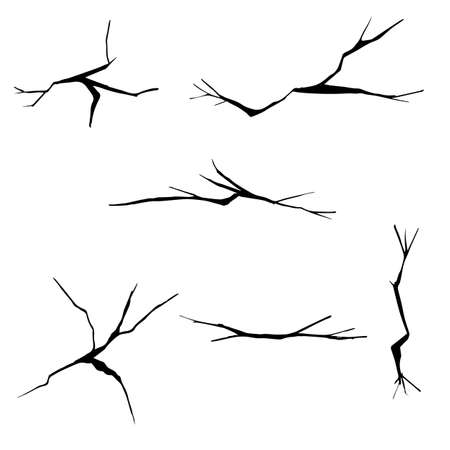 Set of hand drawn cracks. Isolated on white background. cartoon doodle style vector illustration Vettoriali