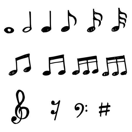 Set of hand drawn music note doodle. Vector doodle design element music note cartoon illustrations isolated. Vetores