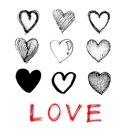 hand drawn illustration of heart love icon on white background Illustration