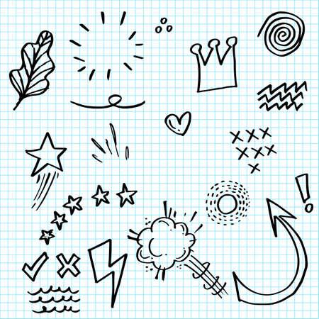 doodle set elements on paper. Arrow, heart, love, star, leaf, sun, light, crown, king, queen, emphasis ,swirl, speech bubbles, comics, for concept design.