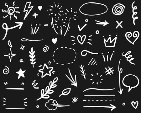 Hand drawn set elements, for concept design. vector illustration.