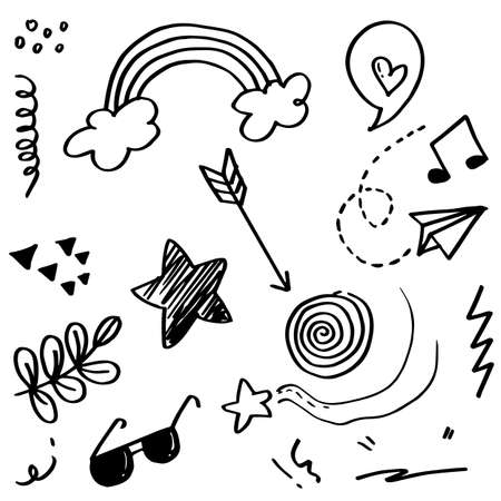 Doodle set elements, black on white background. Arrow, heart, love, star, leaf, paper airplanes, glasses, music note, for concept design.