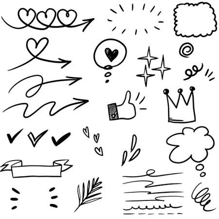 Hand drawn set elements, black on white background. Arrow, heart, love, speech bubble, star, leaf, sun,light,check marks ,crown, king, queen,Swishes, swoops, emphasis ,swirl, for concept.