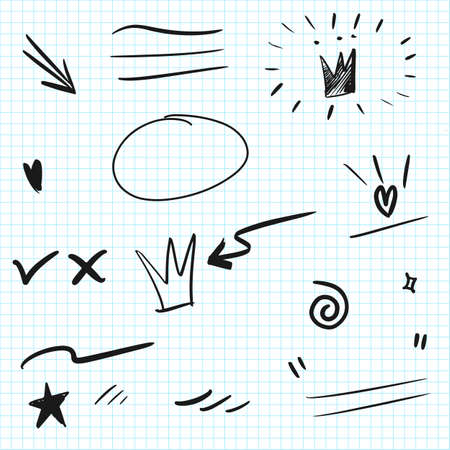 Hand drawn set elements. Arrow, heart, love, speech bubble, star, leaf, sun, light, check marks ,crown, king, queen, swishes, swoops, emphasis ,swirl, heart, for concept design.