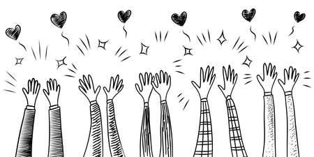 doodle hands up,Hands clapping with love. Concept of charity and donation. Give and share your love to people. vector illustration Vektorgrafik