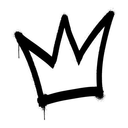 graffiti spray Crown isolated on white background. vector illustration.